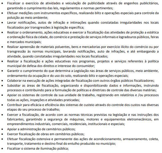 Atribuições de cargo do Concurso Agente de Fiscalização de Salvador