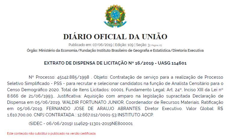 EXTRATO DE DISPENSA DE LICITAÇÃO DO CONCURSO IBGE 2019 - Concurso IBGE 2019, divisão de vagas é publicada!