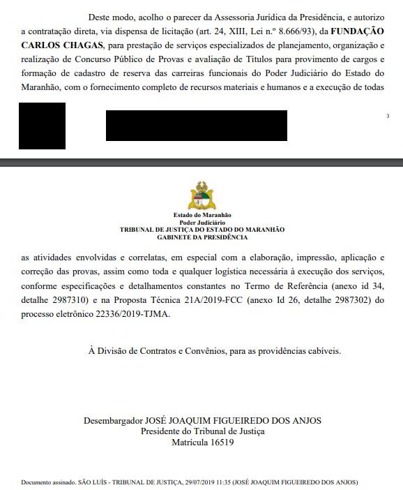 Presidente do TJ MA assinada documento que autoriza a contratação da banca FCC.