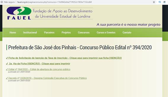 Prefeitura de São José  dos Pinhais - Concurso Público Edital n° 394/2020